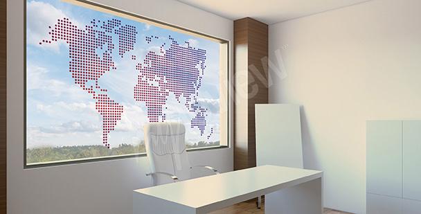 Naklejka witrażowa: mapa świata