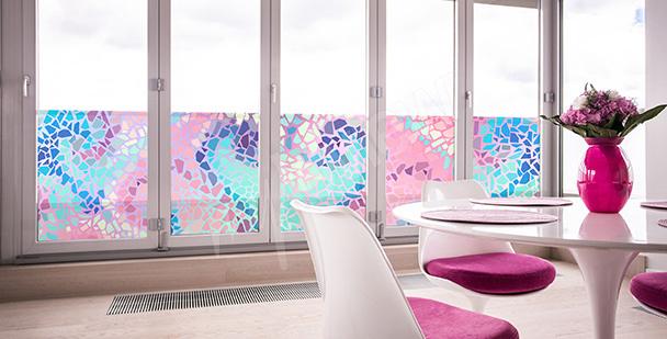 Naklejka witrażowa pastelowa mozaika