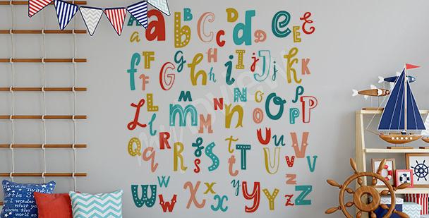 Naklejka z alfabetem łacińskim
