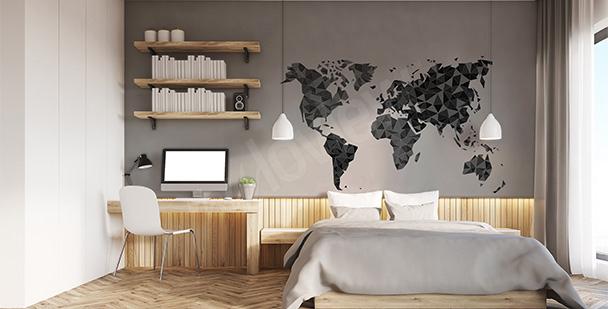 Naklejka z geometryczną mapą świata