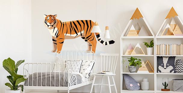 Naklejka z geometrycznym tygrysem