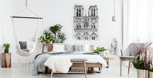 Naklejka z katedrą Notre Dame