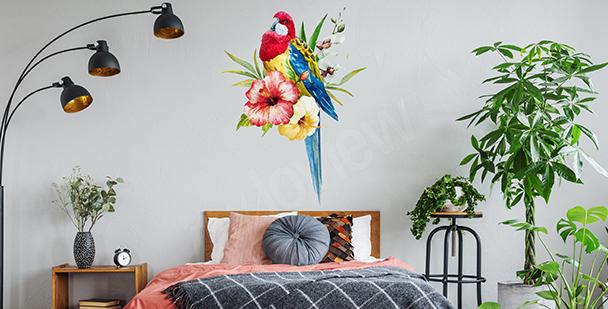 Naklejka z kolorową papugą