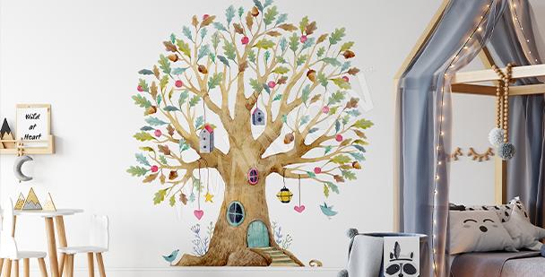 Naklejka z kolorowym drzewkiem