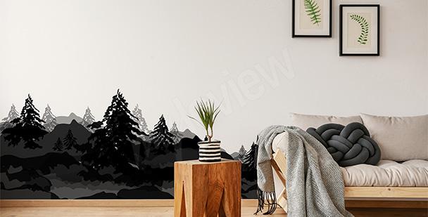 Naklejka z krajobrazem leśnym
