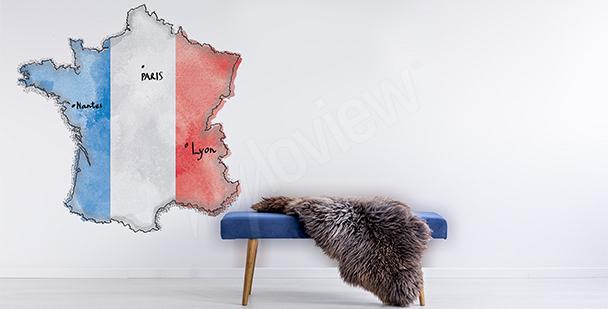 Naklejka z mapą Francji