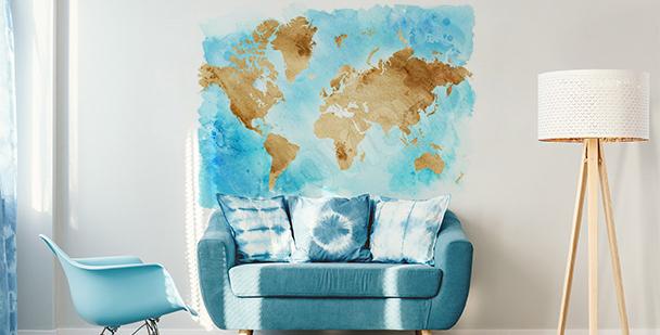 Naklejka z mapą w stylu retro