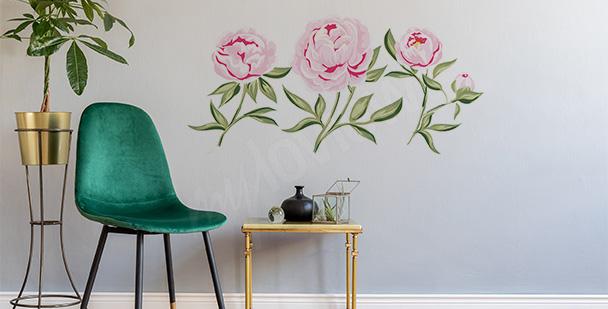 Naklejka z różowymi kwiatami
