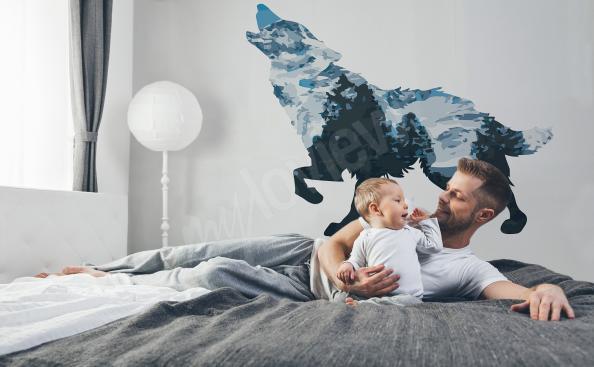 Naklejka z wilkiem do sypialni