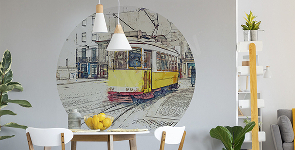 Naklejka żółty tramwaj do jadalni