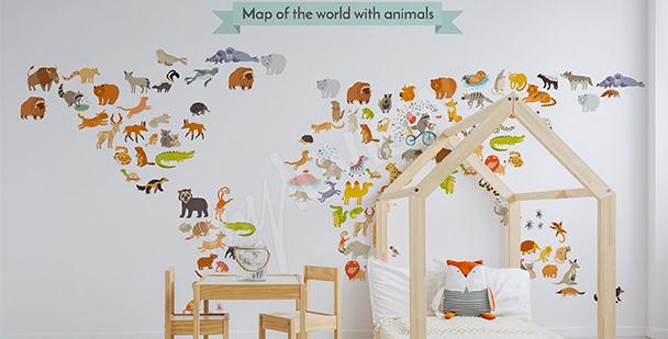 Naklejka zwierzęca mapa świata