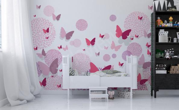 Naklejki różowe motyle