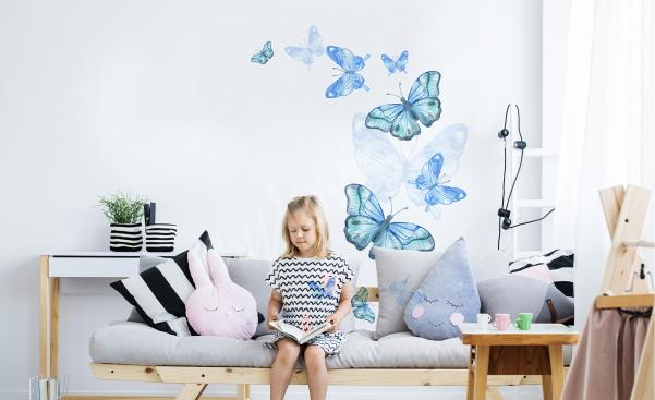 Niebieska naklejka motyle