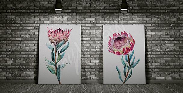 Nowoczesny dyptyk z kwiatami