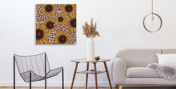 Obraz słoneczniki w salonie