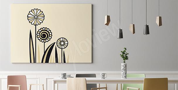 Nowoczesny obraz - trzy kwiaty