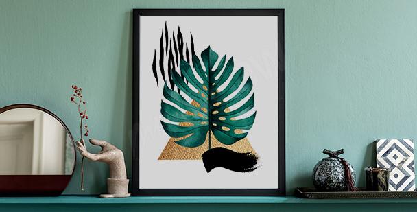Plakat kolorowe rośliny do salonu