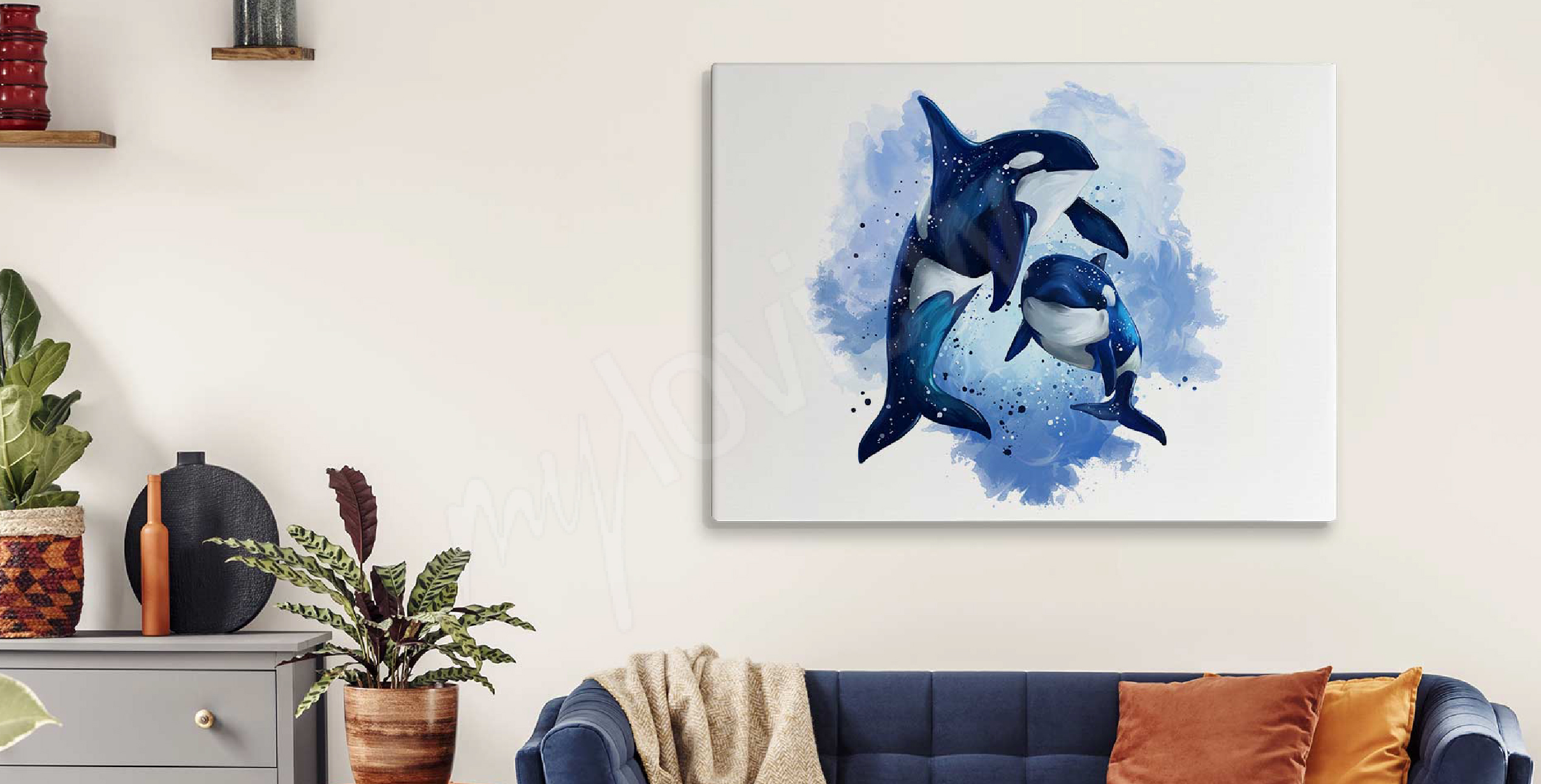 Obraz akwarela i delfiny