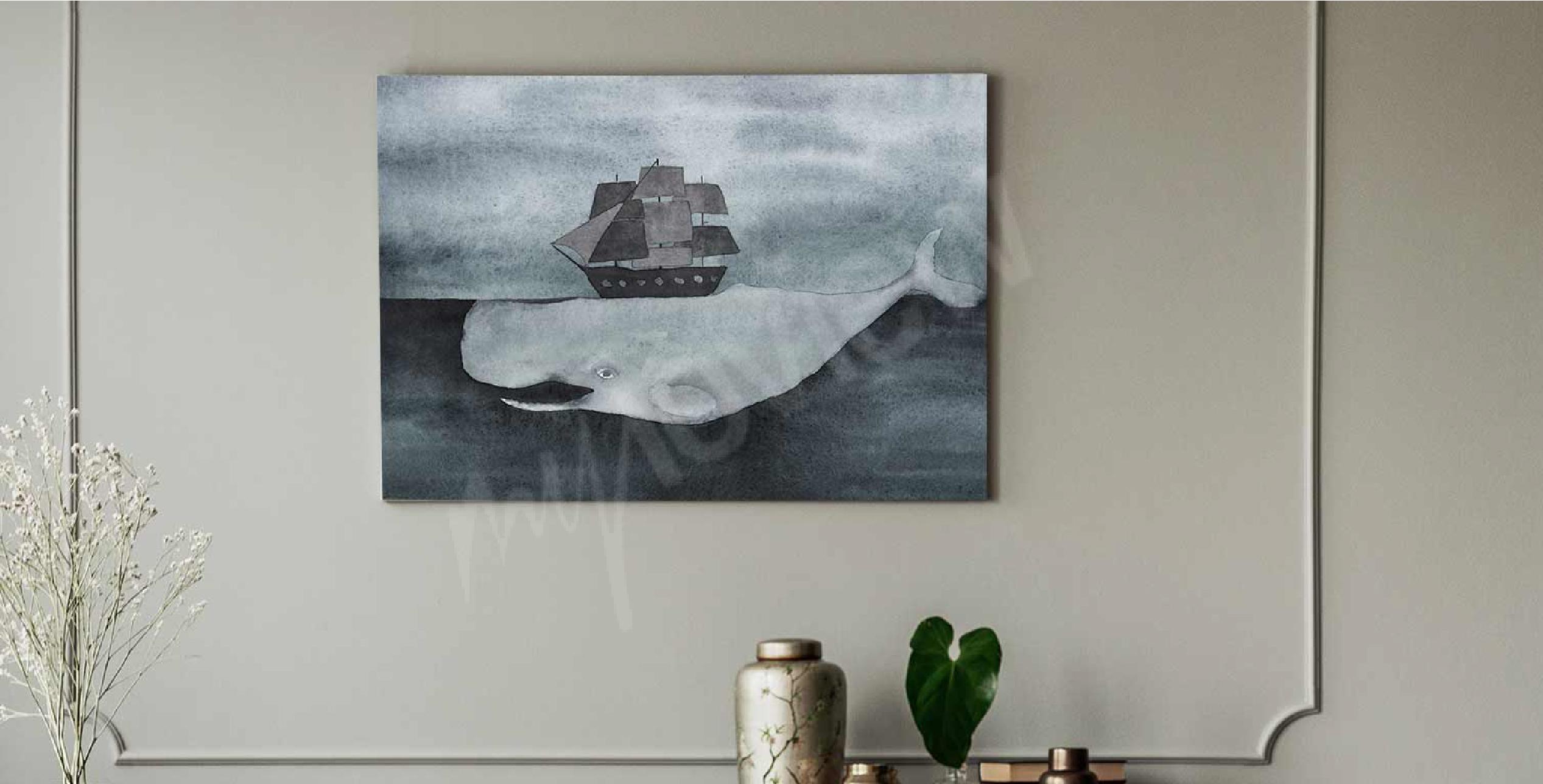 Obraz akwarela i wieloryb
