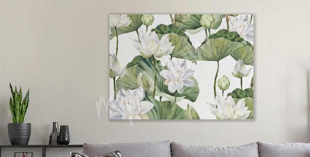 Obraz akwarela kwiat lotosu