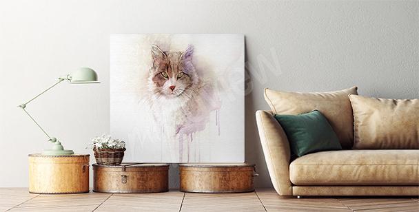 Obraz z rudym kotem