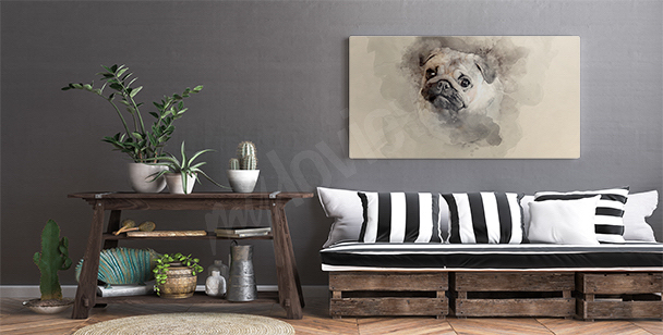 Obraz akwarela z psem