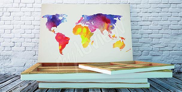 Obraz mapa świata akwarela