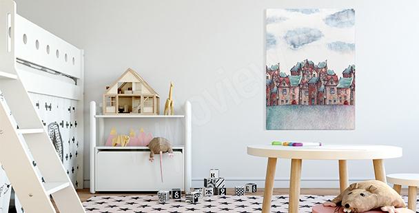 Obraz akwarelowe miasto
