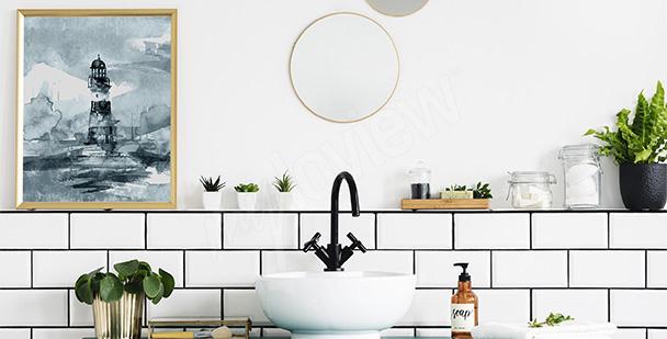 Geometryczny tryptyk do łazienki