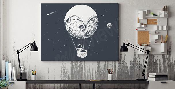 Obraz astronauta i księżyc