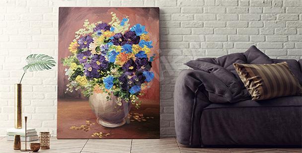 Obraz barwne kwiaty w wazonie