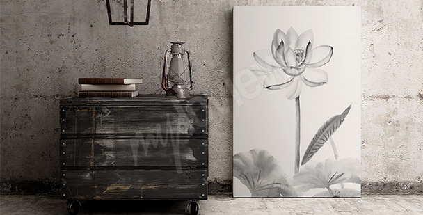 Obraz biały kwiat - akwarela