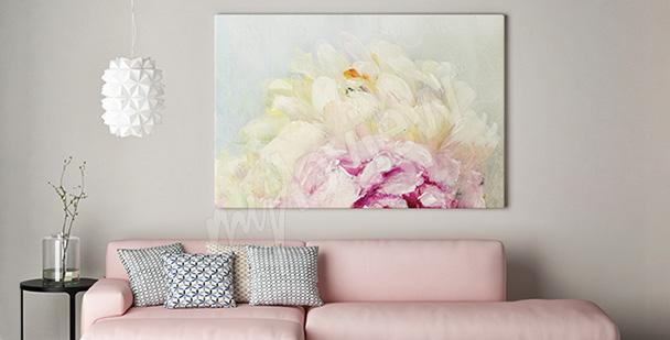 Obraz biały kwiat piwonii