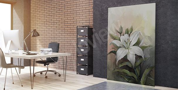 Obraz biurowy z kwiatem
