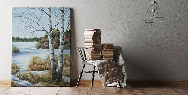 Obraz brzozy do salonu