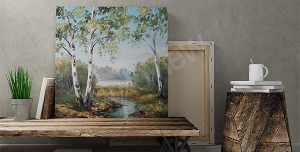 Obraz brzozy - malarstwo