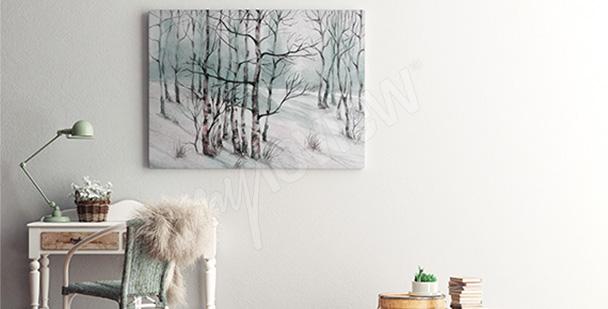 Obraz brzozy w śniegu