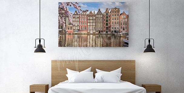 Obraz budynki w Amsterdamie