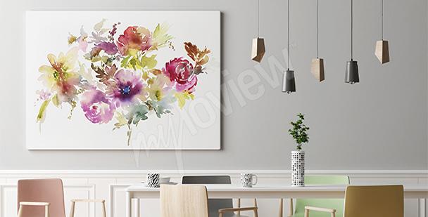 Obraz bukiet malowanych kwiatów
