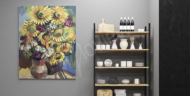 Obraz bukiet ze słonecznikami