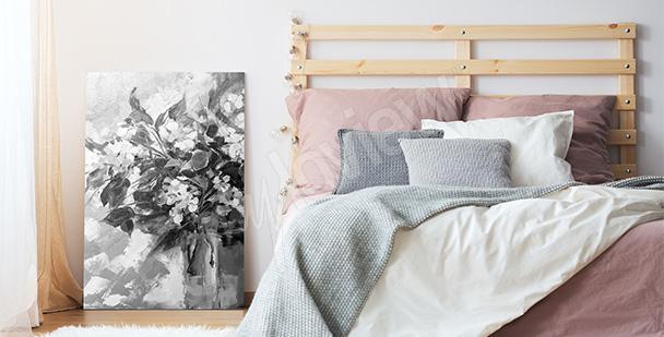 Obraz czarno-białe kwiaty