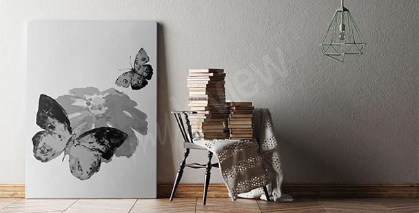 Obraz czarno-białe motyle
