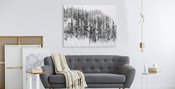 Obraz czarno-biały las