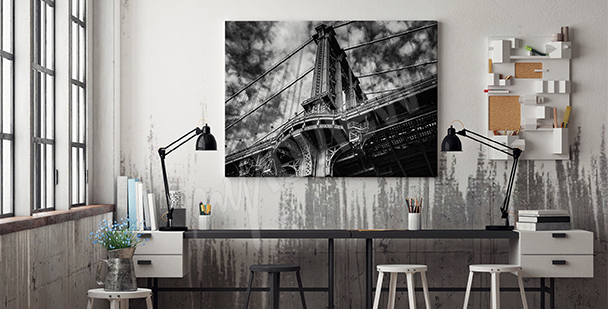Obraz czarno-biały most do biura