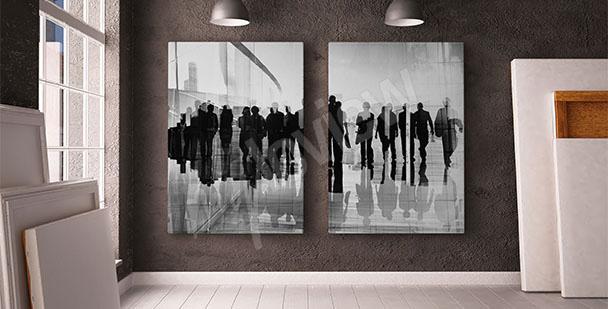 Obraz czarno-biały z ludźmi
