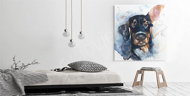 Obraz czarny pies