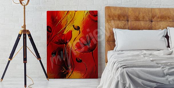 Obraz czerwone maki do sypialni