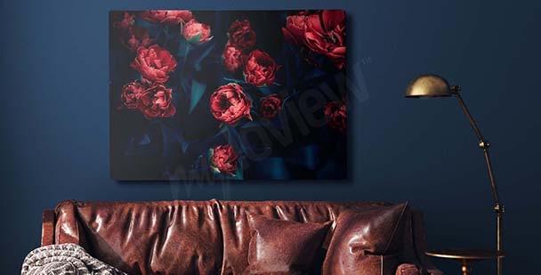 Obraz czerwone tulipany w mroku