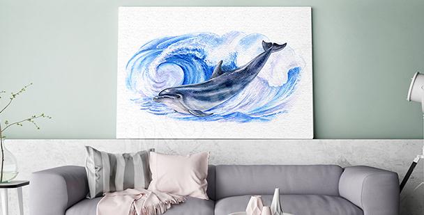 Obraz delfin w morskich falach