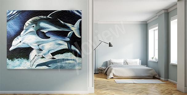 Obraz tryptyk z delfinami